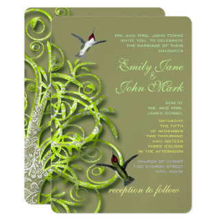 Hummingbirds Golden Lime Tree Wedding Invitation