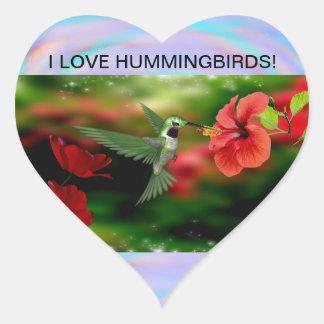 HUMMINGBIRDS HEART STICKER