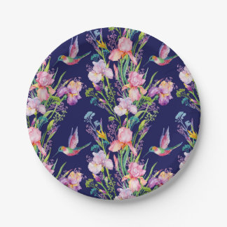 Hummingbirds in Floral Iris Garden Paper Plate