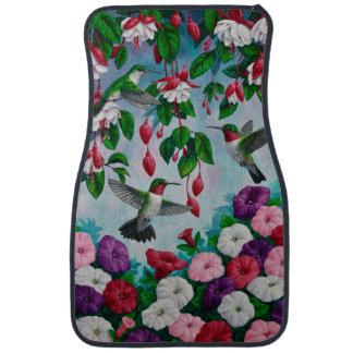 Hummingbirds in Fuchsia Flower Garden Car Mat