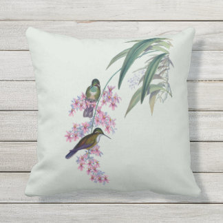 Hummingbirds in Orchids Outdoor Pillow 16x16
