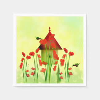 Hummingbirds in the Poppies Paper Napkins Paper Napkin
