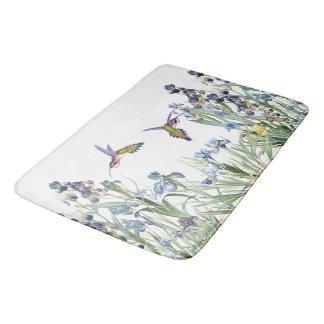 Hummingbirds & Iris Floral Flowers Garden Bath Mat