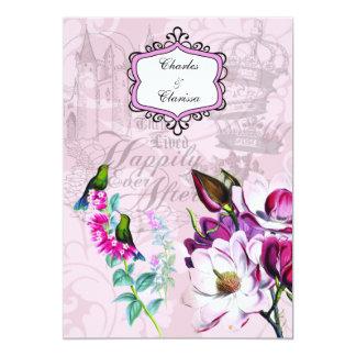 Hummingbirds Magnolias 5x7 Wedding Invitation