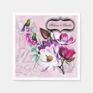 Hummingbirds Magnolias Wedding Paper Napkins Paper Napkin