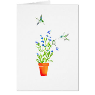 Hummingbirds on Lavender Card