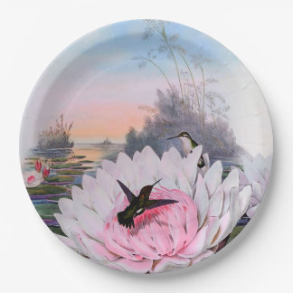 Hummingbirds on Water Lilies Paper Plates 9""