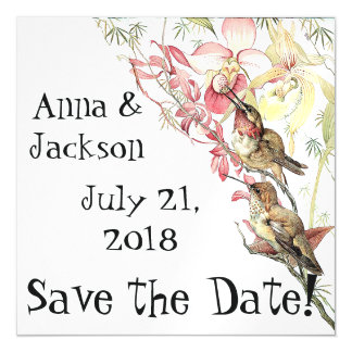 Hummingbirds Orchids Save Date Magnetic Card