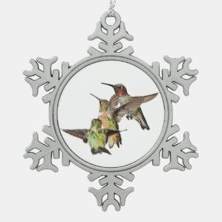 Hummingbirds Pewter Snowflake Decoration
