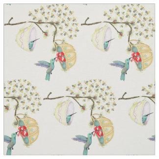 Hummingbirds Teacups Spring Floral Garden Fabric
