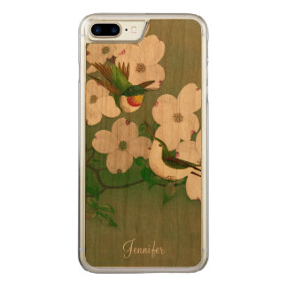 Hummingbirds Vintage Art Wooden iPhone 6 Plus Carved iPhone 8 Plus/7 Plus Case