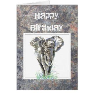 Humor Birthday, Masculine, Elephant, Tough guy Card