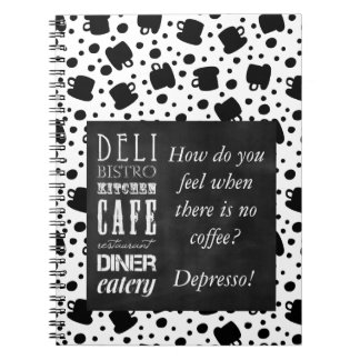 Humor Espresso Coffee Lovers Black Coffee Cups Spiral Notebook