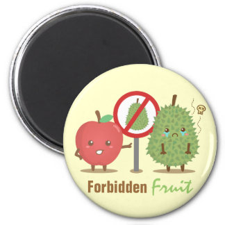 Humor, Forbidden Fruit, Apple and Durian Cartoon 6 Cm Round Magnet