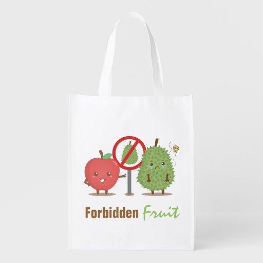 Humor, Forbidden Fruit, Apple and Durian Cartoon Reusable Grocery Bags