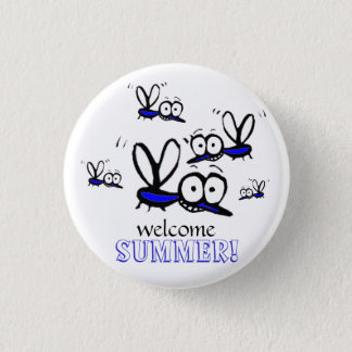 humor funny welcome summer cartoon mosquitoes 3 cm round badge
