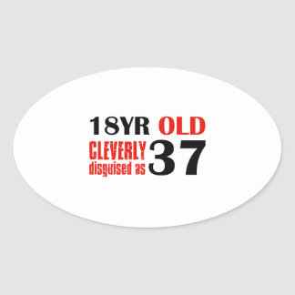 Humorous 37 year old birthday gifts oval stickers