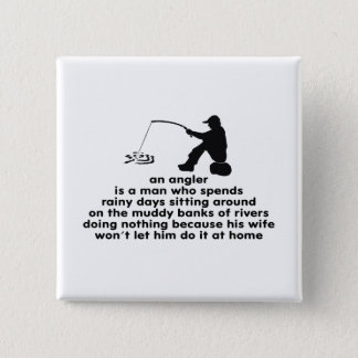 Humorous Angler's 15 Cm Square Badge