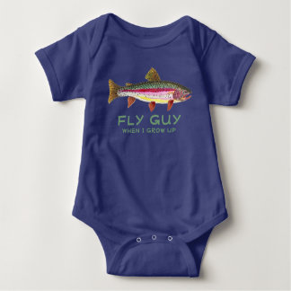 Humorous Baby Trout Fishing Fly Guy Baby Bodysuit