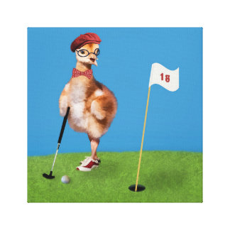 Humorous Bird Playing Golf Stretched Canvas Prints