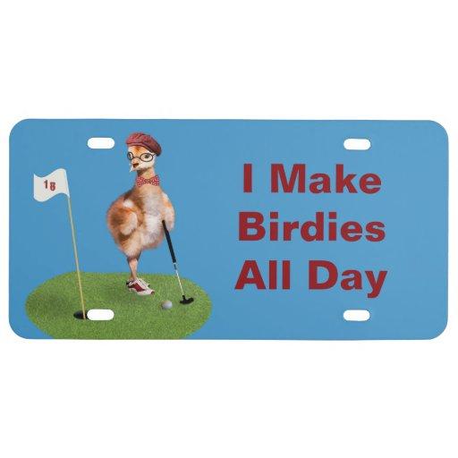 Humorous Bird Playing Golf, Customizable Text License Plate