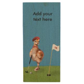Humorous Bird Playing Golf, Customizable Text Wood USB 2.0 Flash Drive