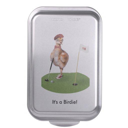 Humorous Bird Playing Golf, Customizable Text Cake Pan