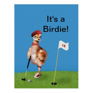 Humorous Bird Playing Golf, Customizable Text Postcard