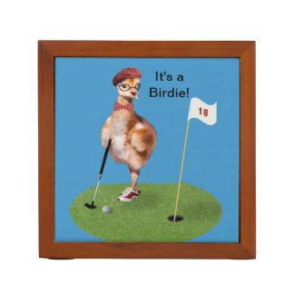 Humorous Bird Playing Golf Desk Organisers