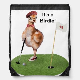 Humorous Bird Playing Golf Drawstring Backpacks