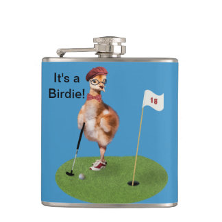 Humorous Bird Playing Golf Hip Flask