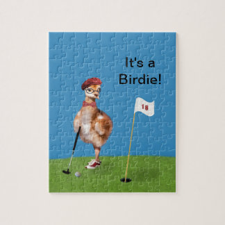 Humorous Bird Playing Golf Jigsaw Puzzles
