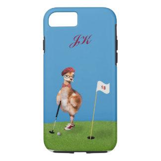 Humorous Bird Playing Golf, Monogram iPhone 7 Case