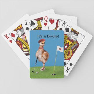 Humorous Bird Playing Golf Card Deck