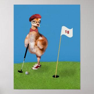 Humorous Bird Playing Golf Posters