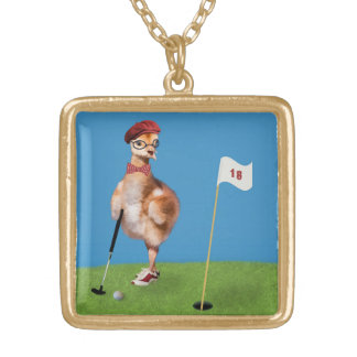 Humorous Bird Playing Golf Square Pendant Necklace