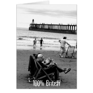 Humorous British at the Seaside in Monochrome Card