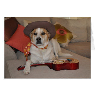 Humorous card with photo of dog in cowboy hat