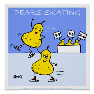 Humorous Cartoon Kitchen Poster - Pears