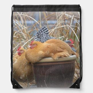 Humorous Chicken Drawstring Bag