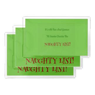 Humorous Christmas Naughty List Decorative Acrylic Tray