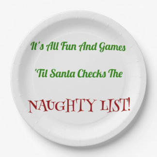 Humorous Christmas Naughty List Decorative Paper Plate