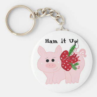 Humorous Christmas Pig - Ham it Up! Basic Round Button Key Ring