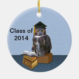 Humorous Class of 2014 Graduation Owl Round Ceramic Decoration