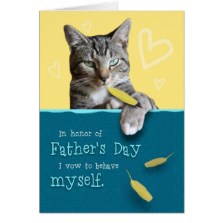 Humorous Father's Day Card with Naughty Cat