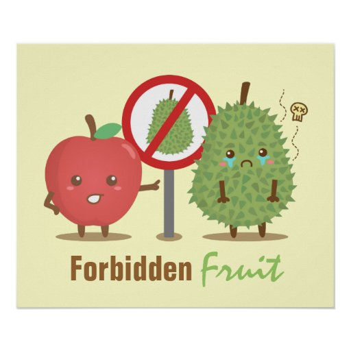 Humorous, Forbidden Fruit, Apple and Durian Print