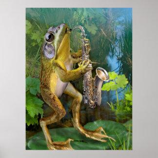 Humorous Frog Plying Saxophone Poster