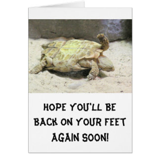 HUMOROUS GET WELL NOTE CARD /TURTLE FLIPPED OVER