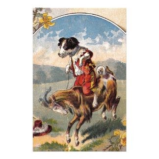 Humorous goat and dog going for a ride stationery