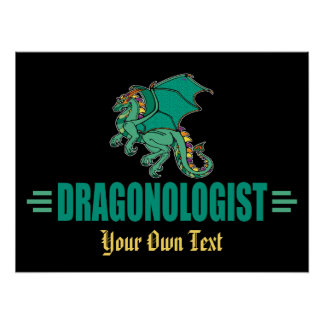 Humorous Green Mythological Dragon Poster